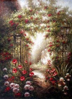 Roses Climbing Over the Arbor - Original Oil Painting Artist: Unknown  Size: 48 High x 36 Wide Canvas  Hand-painted, original oil painting on unstretched canvas.
