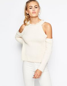 Daisy+Street+Halter+Neck+Knit+Rib+jumper+with+Cold+Shoulder