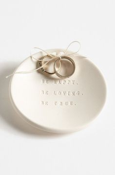 Instead of a ring bearer pillow. the bowl is something cute and can be used after the wedding as their everyday ring holder. Paloma's Nest 'Be Happy Be Loving Be True' Ring Bearer Bowl available at Diy Wedding Ring, Ring Holder Wedding, Ring Pillow Wedding, Wedding Blog, Rustic Wedding, Wedding Veils, Wedding Shoes, Wedding Hair, Bridal Hair