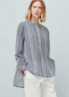 Striped shirt - Shirts for Woman | MANGO Latvia