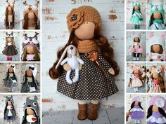 Textile Doll Interior Doll Baby Doll Russian Doll Art Doll Handmade Doll Brown Doll Tilda Doll Soft Doll Fabric Doll Cloth Doll by Olga S Russia Ukraine, Pin Up, Soft Dolls, Fabric Dolls, Amigurumi Doll, Baby Dolls, Kids Dolls, Doll Clothes, Etsy