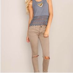 Free People Destroyed Skinny Pants Brand New! Distressed skinny jeans in a Great color of Steel (Tan) These will look great dressed up with heels or worn casually with a Sweater and flats! Let me know which size you would like and I'll make a separate listing for you Free People Pants Skinny