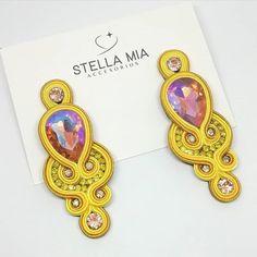 Soutache Earrings, Diy Earrings, Chandelier Earrings, Statement Earrings, Handmade Beaded Jewelry, Earrings Handmade, Soutache Tutorial, Quilling Jewelry, Black Earrings