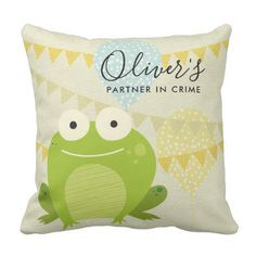 CUTE GREEN BLUE FROG PARTNER IN CRIME CELEBRATION THROW PILLOW - toddler birthday bday ideas presents diy cyo