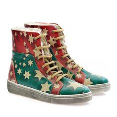 GOBY Women's Shoes ''Stars, Red & Green Shearling Sneaker Boot'' JST111 Sneaker Boots, Short Boots, Red Green, High Top Sneakers, Beige, Stars, Heels, Cotton, Women's Shoes