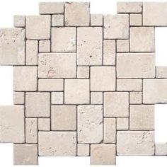 Tumbled Travertine Backsplash | ... Ivory Tumbled Versailles Pattern Mesh-Mounted Travertine Mosaic Tiles