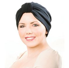 Gathered Knit Turban - Available in Black, White, Pink, Red, Navy, Chocolate   This soft and comfortable knit cover up is quick and easy. Perfect for around the house or social occasions. 98% cotton/ 2% lycra.   Made in the USA. FInd this style & more @ thewigcompany.com