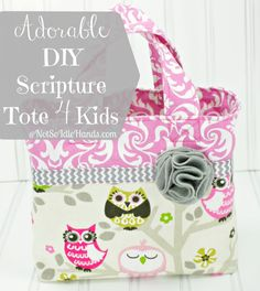 Adorable DIY Scripture Tote or Book Tote For Kids By: NotSoIdleHands.com