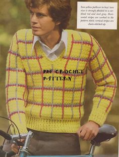 Instant Download Vintage Men's Crocheted Plaid by KatnaboxCrochet
