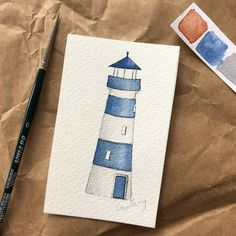 A blue watercolor lighthouse illustration by watercolor artist Gudlaug Thorleifsdottir Watercolor Paintings For Beginners, Watercolor Projects, Watercolor Sketch, Watercolor Illustration, Watercolour Painting, Painting & Drawing, Watercolors, Nautical Prints, Nautical Pattern