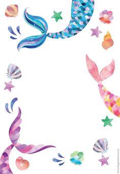 Mermaid Party Invitations, Birthday Invitation Templates, Birthday Party Invitations, Birthday Cards, Birthday Ideas, Mermaid Wallpapers, Mermaid Theme Birthday, Mermaid Birthday Decorations, Happy Birthday Greetings