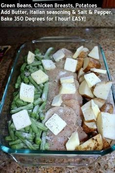 In a 9x13 pan, cut 3 chicken breasts in half, add 2 cans green beans on one side and cut up red skin potatoes on the other. Sprinkle a packet of zesty Italian dressing mix over the top. Drizzle a stick of melted butter over it. Cover it with aluminum foil and bake at 350 for 1 hour. (fresh or frozen beans are better). if fresh beans are used-throw in halfway through. Might be good with Ranch too! Options- add bacon and parmesan! Did w ranch. Very good but potatoes were still hard.