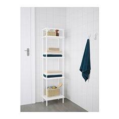 IKEA - DYNAN, Hylla, , Hyllsektionen är bred och grund – två egenskaper som skapar gott om plats för dina saker samtidigt som du får mer golvyta att röra dig på.Två funktioner i en möbel – öppna hyllor för rena handdukar och en handduksstång till de du använder.Du får plats med upp till 8 badhanddukar i utrymmet mellan hyllorna.Justerbara fötter gör att du kan parera eventuella ojämnheter i golvet.Perfekt i ett litet badrum.