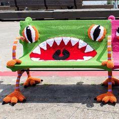 Crocheted Monster Bench Yarn Bombing by Artists Jill and Lorna Watt
