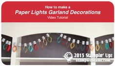 "Tami White's Video tutorial. Quick Prep Guide. Paper Garland: How to Make Paper Lights Garland Decoration. Kids Crafts. Party Decorations . Christmas video ——— Stampin Up Supplies • Simply Scored #122334 • Stampin' Trimmer #126889 • 1/4"" Circle Handheld Punch #134364 • Gold Baker's Twine #132975 • Brights 8-1/2"" X 11"" Card Stock #131190 • Smoky Slate 8-1/2"" X 11"" Cardstock #131202 • Tear & Tape Adhesive #138995 • Snail Adhesive #104332"