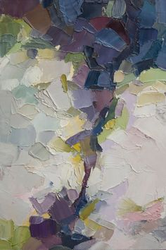 Waking Up - Original Oil Painting in soft whites, light greens and yellows and soothing purples and blues
