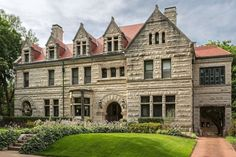 This handsome $1.75 Million stone manse is an elegant example of Richardsonian Romanesque style. Designed by Frederick Bonsack in 1897 for Brown Shoe Company founder George Warren, the home features superior craftsmanship throughout.