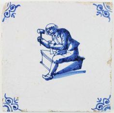 Antique Dutch profession tile with a Sculptor, 17th century