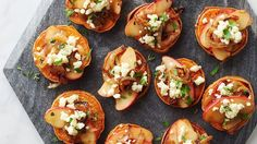 For your next party, skip the potato chips, and opt for these delicious caramelized onion- and apple-topped sweet potatoes instead.