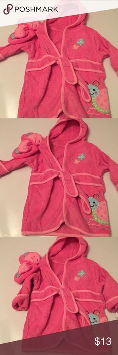Baby bathrobe and booties girl Babies r us baby bathrobe and booties pink dress girl terry cloth size 0-9 Months new babiesrus Pajamas Robes