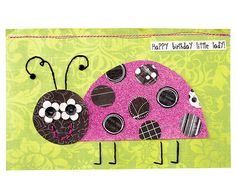 Flowers for eyes and patterned-paper circles for spots create a fun effect on this pieced ladybug. Instead of folding, cut the card in half and sew the pieces together at one edge. Make a second row of stitches for extra durability. To finish the card, stamp the greeting on a white paper strip.