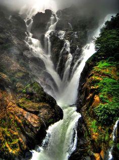 Western Ghats, Mandovi river plummeting down the Dudhsagar Falls in Goa