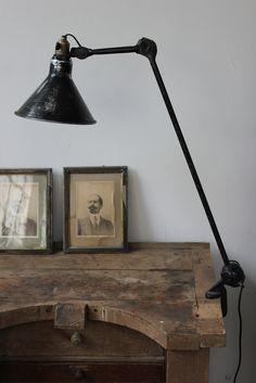 Old Jeweler's bench superbe ancienne lampe industrielle Gras n°201 abat jour dessinateur