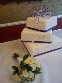 Cadbury Purple Theme Wedding Cake - With Diamante Quilt Design - Cake by L.Huckle