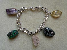 Natural Stone Bracelet   Silver Tone Chain  by AprilSnowJewelry, $10.00