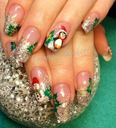 50 Easy and Eye-catching Christmas Nail Designs Nails Cute Christmas Nails, Xmas Nails, Red Nails, Hair And Nails, Christmas Snowman, Red Christmas, Fancy Nails, Cute Nails, Pretty Nails