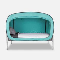 Privacy Pop Bed Tent in Teal Floor Bed Frame, Bed Boards, Roll Away Beds, Futon Bed, Bed Tent, Bed Springs, Types Of Beds, Beds For Sale, Cool Beds