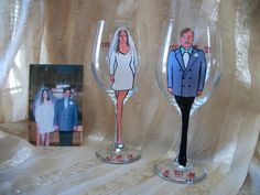 "Whimsy Doodle   ""40th Wedding Anniversary goblets"" Circa 1971"