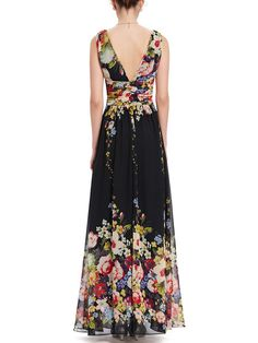 Black Plunging Neck Sleeveless Floral-print Evening Dress