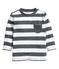 Dark gray/striped. CONSCIOUS. Long-sleeved T-shirt in soft organic cotton jersey…