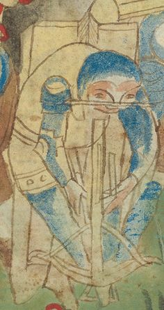 Crossbowman using a goats-foot lever to span the bow whilst behind cover of a pavise, Upper Rhine Germany 1420-40 Zurich Zentralbibliothek ZBZ Rh hist 33b F 99v.
