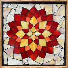 Student Work from a Kasia Mosaics Stained Glass Mosaic Flower Workshop - Dahlia by Sonya. Sign up for a class near you via www.kasiamosaics.com