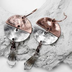 $3.08 - Silver Earrings Fashion Design Water Drop Shaped Color Pendant Chunky Vintage #ebay #Fashion