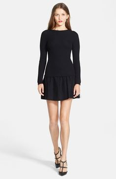 Free shipping and returns on RED Valentino Rib Knit & Point d'Esprit Dress at Nordstrom.com. A fitted rib-knit raglan-sleeve top combined with a flounced point d'esprit skirt gives sporty and feminine style to this versatile drop-waist dress.