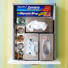 Corral plastic and zip-top bags by storing them in metal tissue holders.