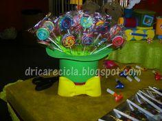 Drica Recicla: Chapéu do Patati Patata porta pirulito (piruliteiro) - port lollipop clown hat