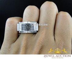 Diamond Engagement Pinky Men's 10K White Gold Round Cut Band Ring 1.20 Carat #2jewelauction #WeddingBand #WeddingMensEngagementRingBand
