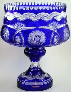 "14 25"" Imperilux Cobalt Blue 24 Lead Cut to Clear Crystal Vase Large   eBay"