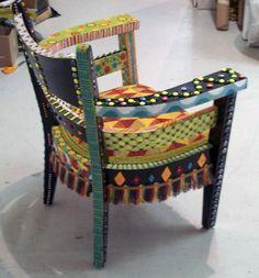 Back of Bohemian chair.