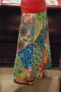 how to sew patchwork skirt