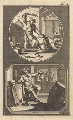 Jan Goeree | Billenkoek / platzak, Jan Goeree, Hendrik van Damme, 1705 | Twee voorstellingen van loterijspreuken, elk met een eigen nummer. Boven n. 400: een voorstelling in een ronde lijst van een man die zijn vrouw billenkoek geeft met een natte doek. Onder n. 403: een voorstelling in een achthoekige lijst van een man in een woonkamer, zittend aan een tafel. In zijn hand een lege buidel, symbool voor zijn armoede. De prent heeft een paginanummer bovenaan rechts.
