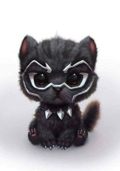 Black Panther as a cute Kitty Cute Animal Drawings, Cute Drawings, Kawaii Drawings, Cute Baby Animals, Funny Animals, Anime Animals, Cartoon Cartoon, Marvel Wallpaper, Marvel Art