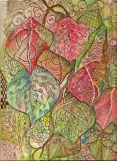 tangled leaves with watercolor - Dangling Doodles by jjlcooterpie, via Flickr Watercolor | WefollowPics
