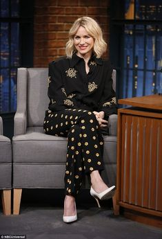 Naomi Watts cuts a chic figure during Late Night with Seth Meyers talk #dailymail