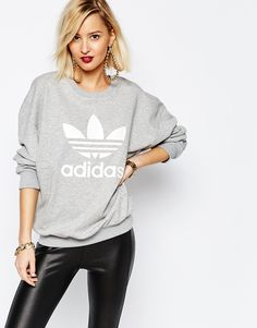 adidas+Originals+Adicolour+Oversized+Crew+Neck+Sweatshirt+With+Trefoil+Logo