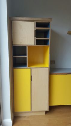 New plywood cupboards - with laminate covered doors + shelves